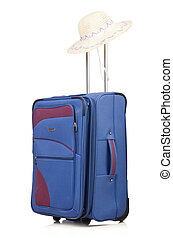 Blue suitcase isolated on the white