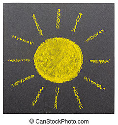 The Sun - The sun, drawn on a plate of slate