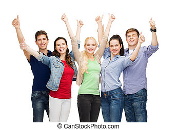組, 學生, 顯示, 向上, 拇指, 微笑