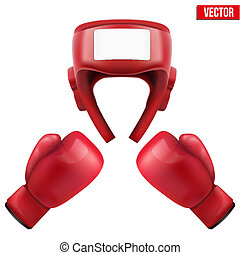 Boxing helmet and gloves Vector Illustration - Boxing helmet...