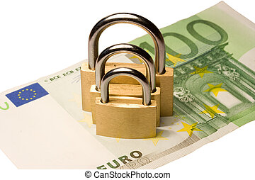 Triple money security - Three padlocks of different size on...
