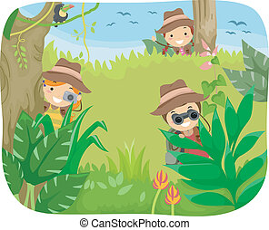 Kids Jungle Adventure - Illustration of Kids on a Jungle...