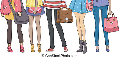 Teenaged Students - Cropped Illustration Featuring Teenaged...