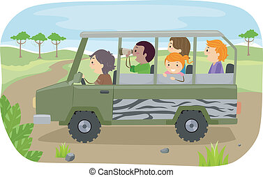 Family Safari Tour - Illustration of a Family on a Safari...