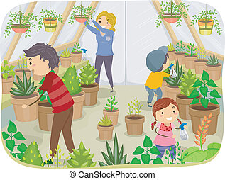 Family Greenhouse - Illustration of a Family Working on...