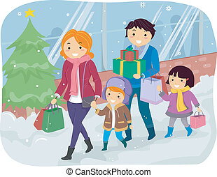Christmas Shopping - Illustration of a Family Doing Some...