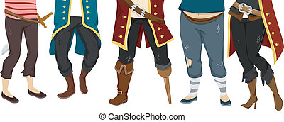Pirates Feet - Cropped Illustration Featuring the Feet of a...
