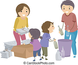 Family Waste Segregation - Illustration of a Family...