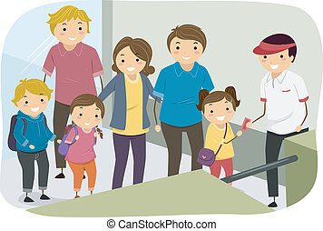 Family Line Ticket Entrance - Illustration of Families...