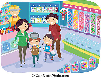 Candy Store Family - Illustration of a Family Shopping for...