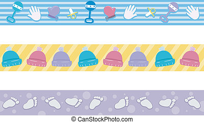 Baby Elements - Border Illustration Featuring Different...