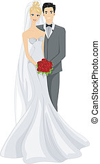 Wedding Photo - Illustration of a Newlywed Couple Posing for...