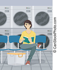 Boy Waiting at the Laundromat - Illustration of a Male Teen...