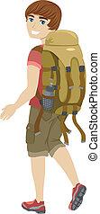 Teen Male Hiker - Illustration of a Male Teen Wearing...