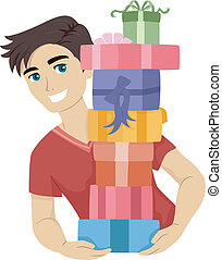 Teen Male Gifts - Illustration of a Male Teen Carrying a...