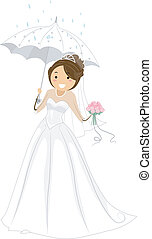 Bridal Shower - Illustration of a Bride Holding an Umbrella