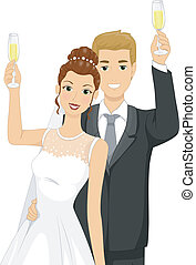 Wedding Toast - Illustration of a Newlywed Couple Doing a...