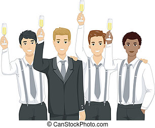 Groomsmen Toast - Illustration Featuring Groomsmen Raising a...