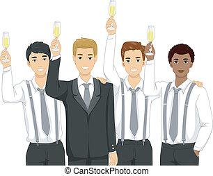 Groomsmen Toast - Illustration Featuring Groomsmen Raising a...