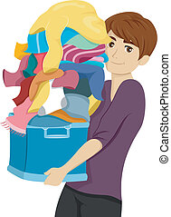 College Boy Laundry - Illustration of a Male College Student...