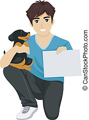 Puppy Training - Illustration of a Male Teen Holding a Cute...