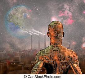 Android before smog filled city with tearraformed moon in...