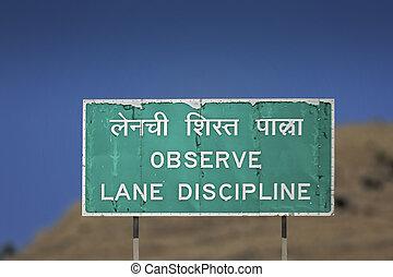 observar, carril, disciplina, camino, señales