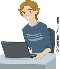 Male Teen Studying - Illustration of a Male Teen Doing Some...