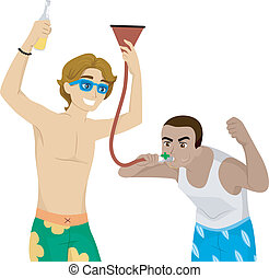 Beer Funnel - Illustration of Male Teens Fooling Around with...