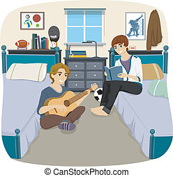 Male Roommates - Illustration of a Pair of Male Roommates...