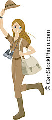 Safari Girl - Illustration of a Girl Wearing a Safari Outfit...