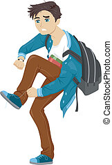 Late for School - Illustration of a Male Teen in a Rush to...
