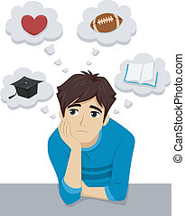 Teenage Male Interests - Illustration of a Male Teen...