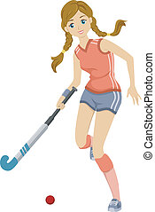 Field Hockey Girl - Illustration of a Teenage Girl Playing...