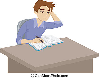 Student Homework - Illustration of a Male Teenager Having...