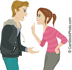 Sibling Argument - Illustration of a Pair of Teen Siblings...