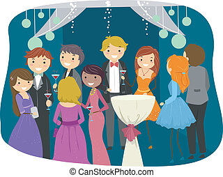 Prom Night - Illustration Featuring Teens Dressed Sharply...
