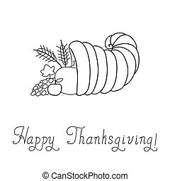 Thanksgiving Day. Cornucopia. Doodle. Template. Vector...