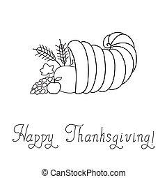 Thanksgiving Day. Cornucopia. Doodle. Template. Vector...
