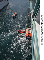 Lifeboats - Cruise ship launching lifeboats during training...