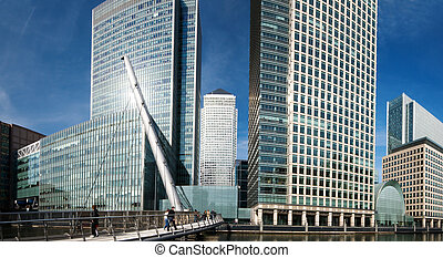 Canary Wharf Skyline - Extreme wide angle view of Canary...