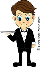 Cute Waiter With A Tray