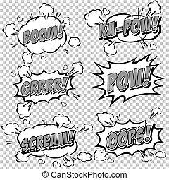 Collection multicolored comic sound - Comic Speech Bubble,...