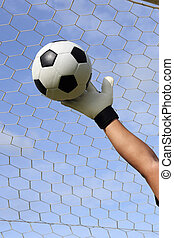 goalkeeper's hands and foot ball - goalkeeper's hands...