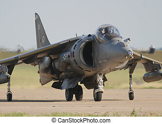 raf harrier taxing after landing at raf leuchars