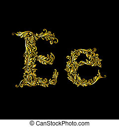 Decorated letter 'e' in upper and lower case