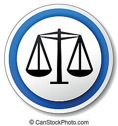 Vector justice icon - Vector illustration of black and blue...