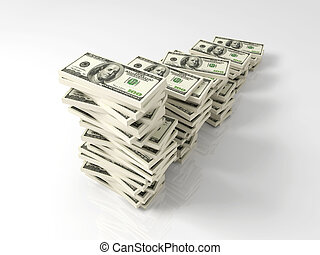 Dollar Profit growth - 3D Illustration. Improving graph made...