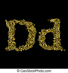Decorated letter 'd' in upper and lower case