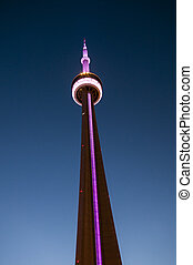 CN Tower in Toronto at night - Detail of the CN Tower with...